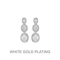 PLATED CZ DROP EARRING