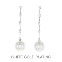 WHITE CUBIC WHITE GOLD PLATING WITH DANGLING PEARL EARRI