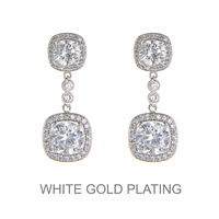 SILVER CUBIC WHITE GOLD PLATING STONE DROP EARRING