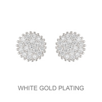 FLAT STUD CUBIC WHITE GOLD EARRING