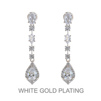 PLATED DANGLY POST CZ EARRING