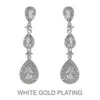 CZ TEARDROP CHANDELIER EARRING