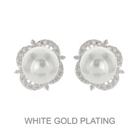 PLATED CZ AND PEARL STUD ER