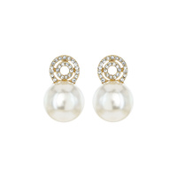 RHINESTONE AND PEARL POST EARRING