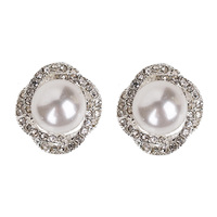 CENTER PEARL WITH STONES STUD EARRINGS