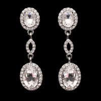 OVAL MIRROR DROP STONE EARRING