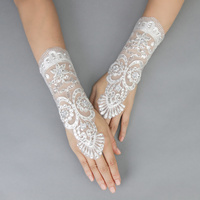 EMBROIDERED LACE UP FINGERLESS WEDDING GLOVES