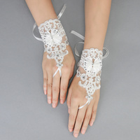LACE & BOW FINGERLESS WEDDING GLOVES