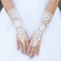 FINGERLESS APPLIQUE LACE BRIDAL GLOVES W/ PEARLS