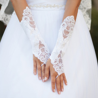 SATIN BRIDAL FINGERLESS GLOVES W/LACE ON BOTH SIDE