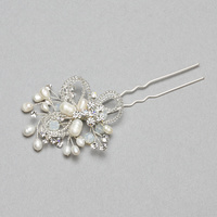 BRIDAL HAIR STICK W/ PEARLS AND STONES
