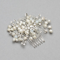 BRIDAL HAIR COMB W/ PEARLS AND RHINESTONES