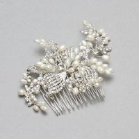 WEDDING HAIR COMB W/ PEARL AND STONES