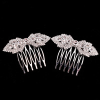 MINT LEAVES RHINESTONE HAIR COMB