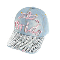 BRIDE DENIM CAP W/FULL STONE BILL