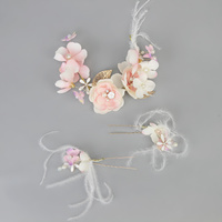 PK FLORAL PINS & HAIRPIECE SET W/ GOLD LEAF DETAIL