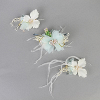 BRIDAL BLUE FLORAL & BABY'S BREATH CLIP ON HEADPC