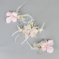 BRIDAL PINK FLORAL & BABY'S BREATH CLIP ON HEADPC