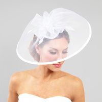 WHITE SOPHISTICATED WEDDING FASCINATOR WITH FLORAL CENTER