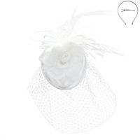 FLORAL AND FEATHER FASCINATOR WITH VEIL