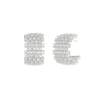 ALTERNATING 4 AND 5 LINE CUBIC POST EARRING