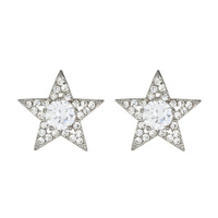 SILVER STAR SHAPED CUBIC ZIRCONIA POST EARRING