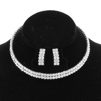 SILVER EXQUISITE CHOKER AND EARRING SET WITH RHINESTONES