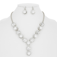 PEARL CIRCLE W/STONE NECKLACE SET
