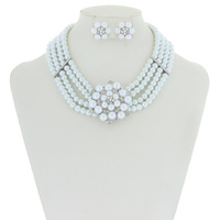 PEARL BIB NECKLACE SET W/SILVER TRIMMING