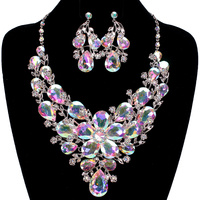 FLORAL BOUQUET STONE NECKLACE SET