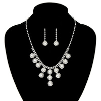 Rhinestone With Pearls Necklace And Earrings Set Nem433Swh