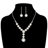Rhinestone With Pearl Drop Necklace And Earrings Set