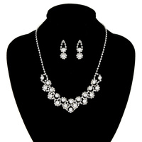 Rhinestone Necklace And Earrings Set Nem873Swh