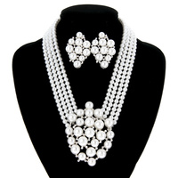 4 LINE PEARL NK SET W/ PEARL CLUSTER PENDANT