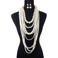 Extra Chunky Multi Strand Pearls Necklace And Earrings Set Npy003Cr