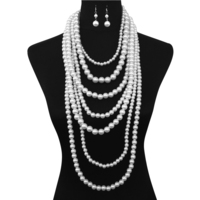 Extra Chunky Multi Layer Pearl Strand Necklace And Earrings Set Npy048Rwh