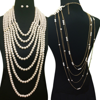Multi Layered Pearl Strands With Back Draped Pearl And Chain Necklace And Earring Set Body Jewelry Npy059Gcr