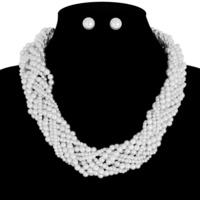 THICK PEARL TWISTED NECKLACE AND EARRING SET
