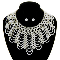DRAPED PEARL BIB NECKLACE AND EARRING SET