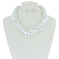 MULTI STRAND TWISTED PEARL NECKLACE