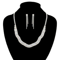 WAVY RHINESTONE NECKLACE SET