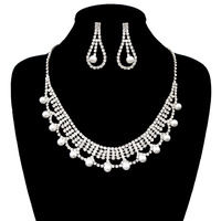 OVAL SHAPE NECKLACE SET W/PEARLS