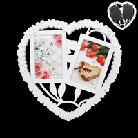 HEART SHAPE PHOTO FRAME 2-4X6 IN WHITE