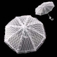 BRIDAL LACE PARASOL W/ TULLE RUFFLES