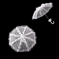 MINI WEDDING LACE PARASOL W/ ALL AROUND RUFFLES