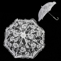 MINI BRIDAL ROSE LACE PARASOL W/ RUFFLED EDGES