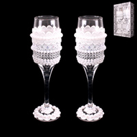 COUPLE LACE WEDDING WINE GLASSES