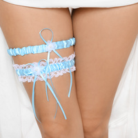 LACE GARTER BELT SET W/ BOW AND PEARL