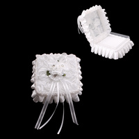WEDDING RING PILLOW BOX W/ BOUQUET& RUFFLES