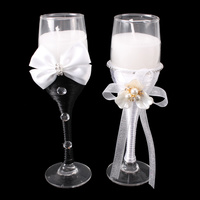 WEDDING MR & MRS CHAMPAGNE GLASS CANDLE HOLDERS
